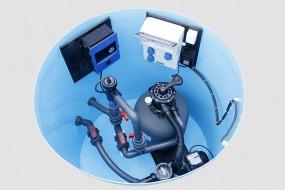 Pool -Technikschacht Comfort mit Salzwasserelektrolyse mit PH-Messung,Gegenstromanlage,Sandfilteranl